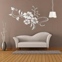 3D Mirror Flower Wall Sticker Art Removable Vinyl Acrylic Mural Decal Home  !