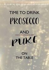 Copa de Prosecco como de vomitar sobre la mesa ~ Potty Boca Tarjetas-pm-pro-05