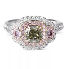 1.93 Ct. GIA Fancy Grayish Greenish Yellow & Pink Diamond Ring DCLA VAL $40,000
