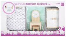Dollhouse Bedroom Furniture Wardrobe, Bed, Vanity table, Stool, Rug Kids Toy