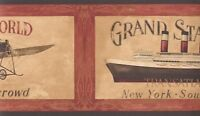 Wallpaper Border Vintage Airplane & Ship Travel Posters