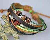 U18b Adjustable Cool Surfer Wood Beads Hemp Leather Bracelet Wristband Bangle