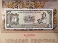 Most Treasured Banknotes Paraguay  5 Guaranies 1952 UNC P 195b prefix A