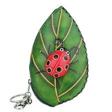 Women Lady Leather Cute Coin Change Purse Zipper Wallet Bag Green Leaf Ladybug