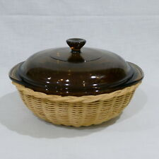Vintage Pyrex DESIGNS Corning Visions 1.5qt Covered Casserole in Rattan Basket