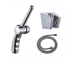Handheld shower head bidet TOILET spray Jet shattaf Kit CHROME Hose Holder L1701