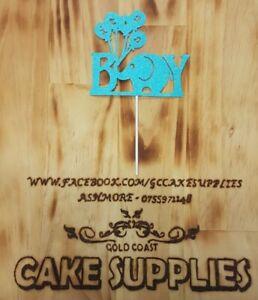 Male Boy Baby Shower Card Cake Topper Glitter its a boy oh baby oh boy