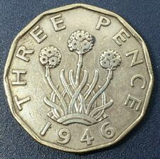 More details for great britain threepence 1946 george vi ind:imp km#849 sp#4112 key date coin