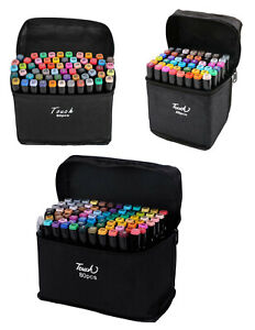 80 Colour Dual Tip Twin Marker Pen Set Animation Drawing Artist Sketch Underline