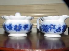 SWEDEN GELFE FLOW BLUE POTTERY VINRANKA GELFE GRAPE LEAVES sugar bowl & creamer