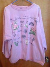 """Beautiful Pink Sweatshirt Size 26/28 """"Le Jardin de la Campagne"""""""