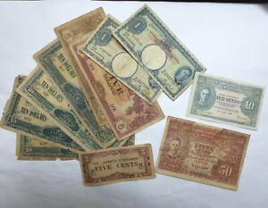 11 British Malaya 5, 10, 50 cents, $1, $5 $10 dollar 1941 Japanese occupation