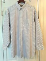 New ROUNDTREE & YORKE Gold Label Non Iron Pinpoint Blue Striped Mens Shirt 17-34