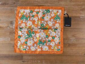 KITON Napoli orange floral motif silk pocket square authentic - NWT