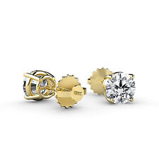 1/2CT TW Diamond Stud Earring 14K Yellow Gold G-H Color SI1 Clarity
