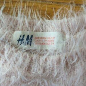 H&M Girls Pink Fluffy Jumper 3-4yr (98-104cm) Pre-Owned