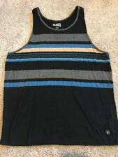 Volcom Mens Multi-color (Black Gray Blue) Striped Tank top Size 2XL