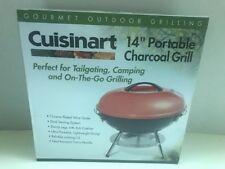 Cuisinart Charcoal Grill 14 in. Portable Outdoor Bbq. Smoker 3 Durable Locks Red