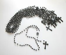 Wholesale Lot of 12 Black Plastic Rosaries for Gifts, Religious Supplies