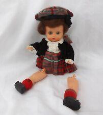 "Vintage Plastic Scottish Beret Skirt Doll 6"" Needs Restringing Mohair Wig"