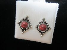 New Park Lane Stud Style  Earrings with Coral Stone in Gift Box