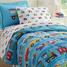Wildkin Kids 5 Pc Twin Bed in A Bag for Boys and Girls Microfiber Bedding Set.