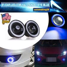 2X 3inch 2400Lm Round Blue Angel Eye Halo LED Projector Fog Light 4X4 ATV Truck