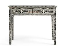 Handmade Bone Inlay Black Floral Two Drawer Solid Wood Console Table