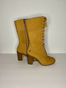 Timberland Women's All Wheat Mid-calf Rubber Heeled Boots Size 7.5