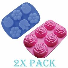 Combo 2 Pack Large Rose Large Tulip Daisy Flower Silicone Cake Mold candy Soap