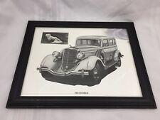 """1934 DODGE SEDAN-BLACK & WHITE ART PRINT BY ARTIST YESZIN-13"""" x 16"""" BLACK FRAME"""
