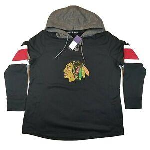 Adidas Women's 2XL Black Gray Chicago Blackhawks Hoodie Pullover Sweatshirt NWT