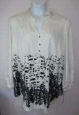 *BEVERLY DRIVE*Blouse Tunic plus size 24/26W ivory/black abstract New w tag($58)