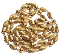 ELEGANT VINTAGE GOLD TONE TEXTURED OVAL AND ROUND BEAD GOLD TONE NECKLACE