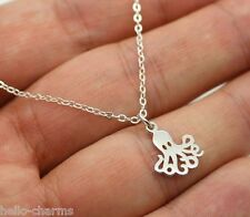 OCTOPUS CHARM NECKLACE - 925 Sterling Silver Shark Sea Animal Ocean Jewelry NEW