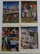 4 Postcards USSR Reproductions of paintings of the Limburg brothers.