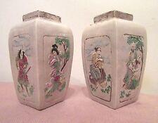 pair rare antique early Japanese raised figural samurai miniature pottery vase