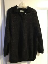 BENETTON SWEATER BLACK With Color ThroughOut SIZE 46 Buttons Stunning!