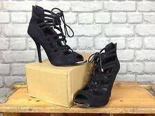 MISS KG LADIES UK 5 EU 38 BLACK STRAPPY SUEDE HEEL SHOES