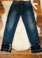NWT Hudson Jeans denim  Blue ripped Jeans Size 25 Destroyed bottom MSRP $265