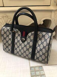 Authentic Gucci Vintage Doctor Boston Web Supreme Navy Leather Bag Purse Rare