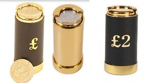 Gold New£1 / £2 Coin Tube Cash Dispenser Pocket Taxi Up To 15 Pound Euro Holder