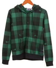 A Bathing Ape Mountain Sports Made in JAPAN Green Check Full Face Zip Hoodie S