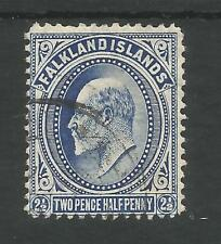 FALKLAND IS SG46b THE 1912 EVII 2.5d DEEP BLUE FINE USED WITH CERT CAT £150