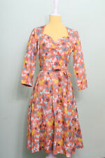 Heart of Haute Maxine Dress Sz S Flutter Coral Butterfly Swing Retro Pinup VLV