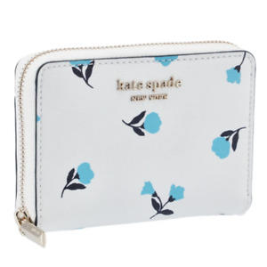 Kate Spade Women's Spencer Dainty Bloom Zip Around Small Card Wallet, White