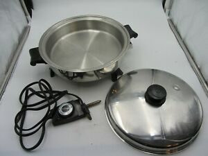 Vintage Saladmaster 7817 Oil Core Electric Skillet W/ Vapo Lid Made In USA
