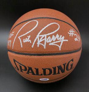 Rick Barry SIGNED Spalding I/O Basketball + HOF 87 Warriors PSA/DNA AUTOGRAPHED