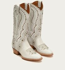Frye Winona Stud Mid Leather Boots Size 6.5 B White Round Toe Western NEW $698