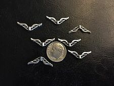 25 pcs Sm Graceful Antique Silver Tone Metal 22X8mm Angel Wings or Spacer Beads
